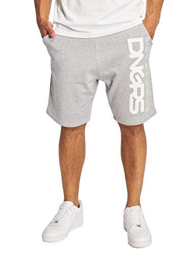 EGOMAXX DNGRS Herren Shorts Baggy Sweat Pants 3/4 Bermuda Sport Hose, Farben:Grau, Größe Shorts:L