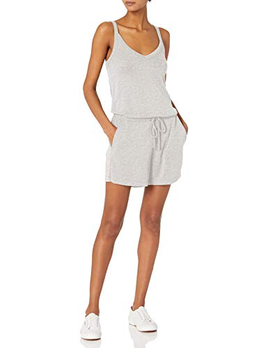 Daily Ritual Sandwashed Modal Blend V-Neck Sleeveless Romper Jumpsuits-Apparel, Grau meliert, 36-38
