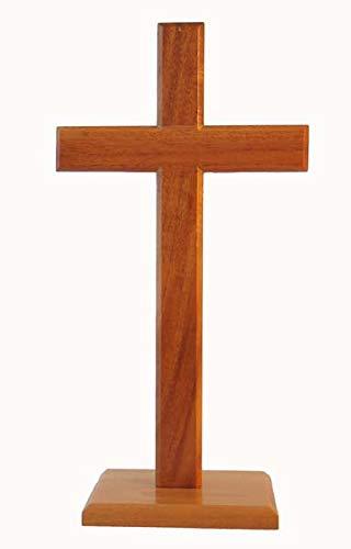 Biblegifts - Croce in piedi da 40 cm, base quadrata, ideale come regalo per il culto cristiano, in legno, colore: Legno naturale
