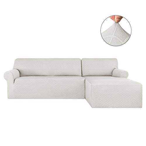 subrtex 2 Pieces Jacquard L Shape Couch Cover Stretch Fabric Sectional Sofa Slipcovers Furniture Protector for 2-Seater (Right Chaise, White Rhombus)