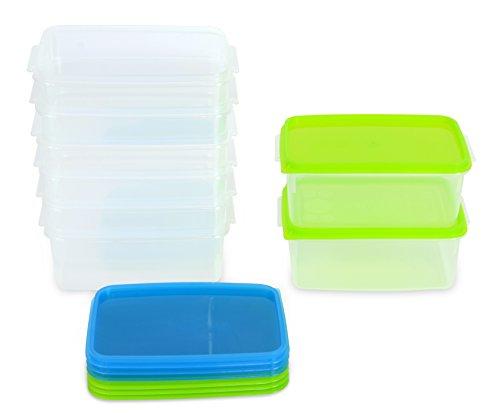 Kigima Frischhaltedose Gefrierbehälter 0,5l Rechteckig 14x9,5x6,2 cm 8er Set blau und grün