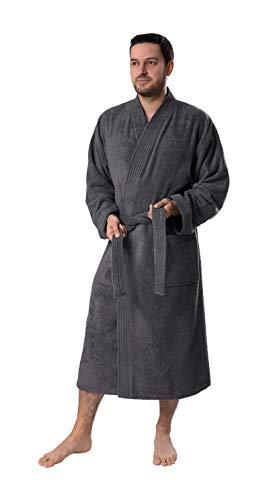 Bagno Milano Organic Men Bathrobe, 100% Organic Turkish Cotton Luxury Bathrobe, GOTS Certified Premium Kimono Style Bathrobe, Grey L-XL