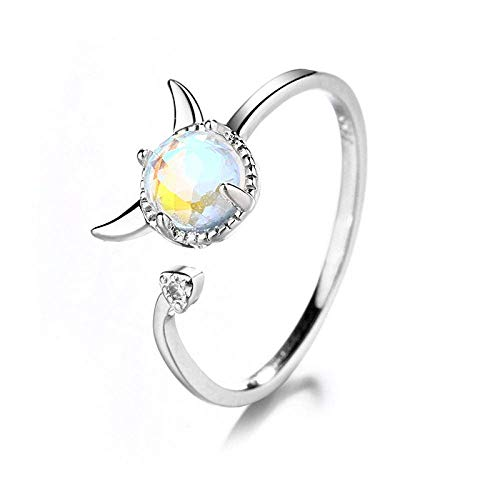Anillo decorativo abierto para mujer, elegante anillo de demonio de piedra lunar, unisex, ajustable, plata, regalo para bodas, bailes, cumpleaños, aniversario, anillo de promesa