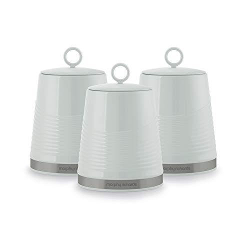 Morphy Richards Dune Kitchen Storage, Tea Coffee Sugar Set of 3 Canisters, Sage Green 976007 Aufbewahrungsdosen für die Küche, für Tee, Kaffee, Zucker, Salbeigrün, 3 Stück, 1