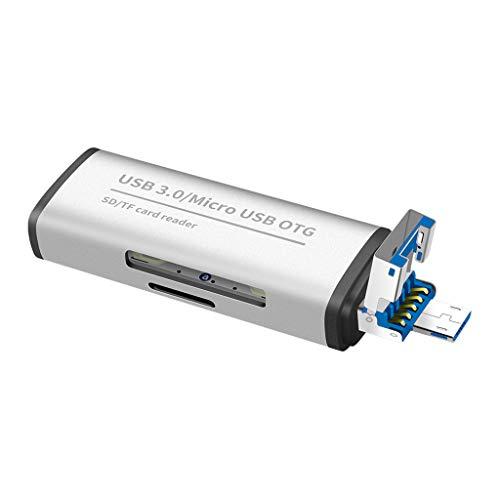 Lettore di schede multifunzione OTG portatile USB 3.0   Micro Usb TF SD Card Adapter (M,Argento)