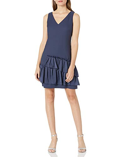 Eliza J Womens Petite V-Neck Dress Pleated Hem Sleeveless Dress - Blue -