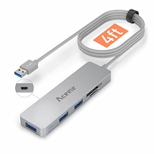Aceele USB Hub 3.0 mit 1.2 m Kabel, USB Adapter mit Micro USB Ladeanschluss, 3-Port USB 3.0 und SD/MicroSD-Kartenleser, geeignet für Laptops,Desktops,USB-Stick,Speicherkarte und andere USB-Gerät(Grau)