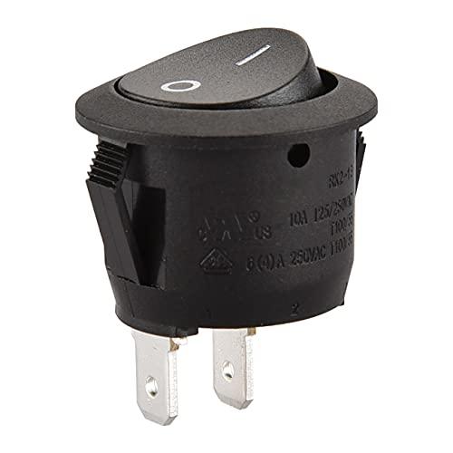 Heschen Interruptor basculante redondo negro SPST 2 terminales 6A 250VAC UL VDE 5 unidades