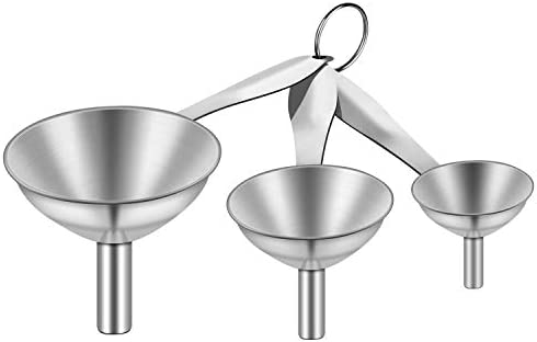 Stainless Steel Funnels 3 in 1 Metal Kitchen Funnels for Filling Bottle with Handy Handle for product image