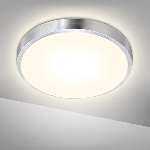 Hengda 15W LED Deckenleuchte, Ø 30cm Rund Deckenlampe Bad 1275LM, IP44 Wasserfest Badezimmer Lampe, 4000K Neutralweiß Badleuchte für Flur Schlafzimmer Küche Wohnzimmer Balkon Keller