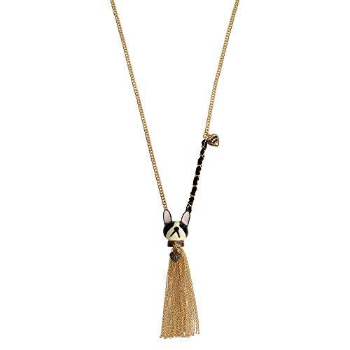 Betsey Johnson Frenchie Dog Tassel Pendant Long Necklace
