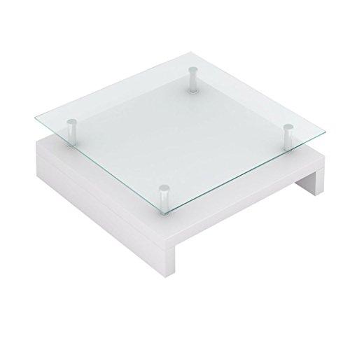 vidaXL Table Basse de Salon carrée Plateau en Verre Structure Blanc laqué Neuf