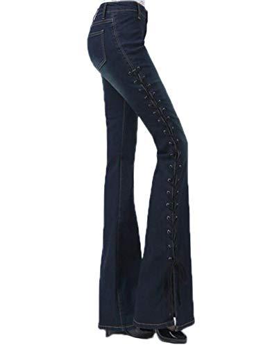 Babao Dames Jeans Flared Jeans Brede Been Denim Broek