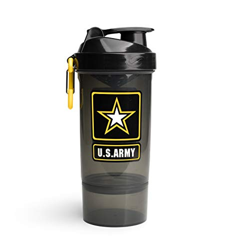 U.S. Army Original2Go 27 Ounce (800ml) Shaker Bottle - Blender Bottle for Protein Shakes, Preworkout & More - Innovative Attachment for Smooth Mixing - Detachable Storage - Limited Edition [Black]