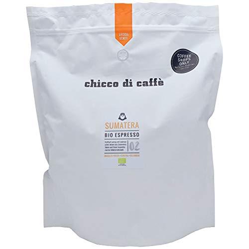 chicco di caffè | Bio Espresso Sumatera | 2,5 kg Großpackung | geröstete, ganze Kaffeebohnen | 80% Arabica - 20% Robusta | aus biologischem Anbau