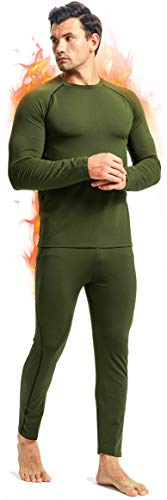 romision Thermal Underwear for Men, Fleece Base Layer Top & Bottom Set, Insulated Long Johns for Cold Weather Hunting