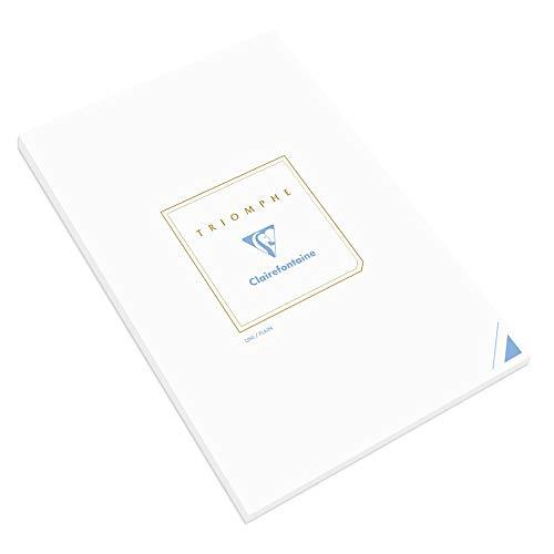 Clairefontaine 6170C - Un bloc de correspondance Triomphe 50 feuilles unies blanches 21x29,7 cm 90g