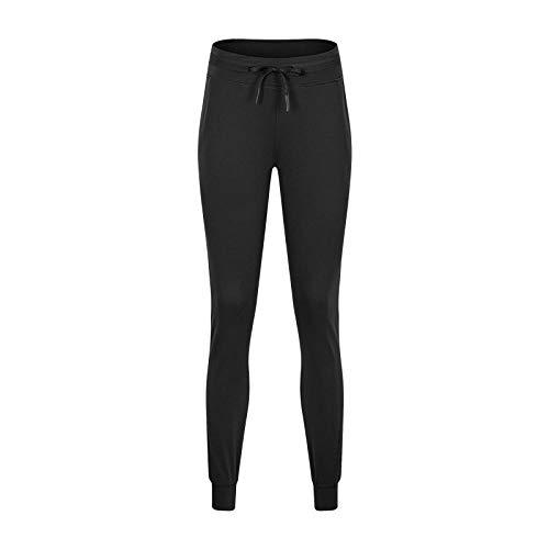 Yogabroek extra zachte legging met zakken voor dames,Nude sport joggingbroek, dames broek met trekkoord-Black_XL,Blouse met V-hals