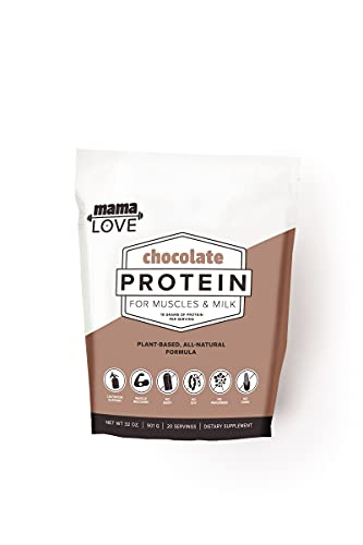 Chocolate Protein For Muscles & Milk   Lactation Protein Powder for Breastfeeding Women   Supports Nursing Moms Breast Milk & Muscle Recovery   Organic   Vegan   Plant Based   Probiotics   20 Servings