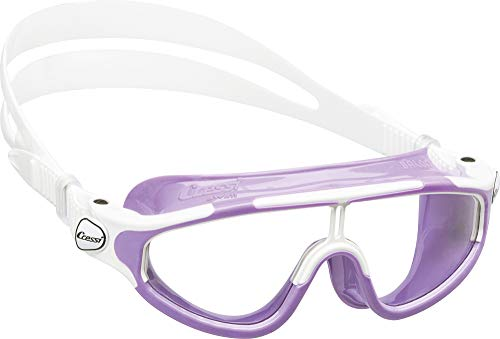 Cressi Wide View Swim Mask for Kids aged 2, 3, 4, 5, 6, 7 years old | Baloo made in Italy, Lilac/White
