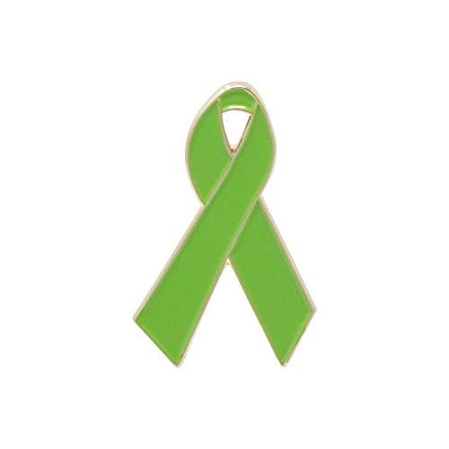 WIZARDPINS Lime Green Awareness Ribbon Gold Enamel Pin Non-Hodgkin Lymphoma– 5 Pins