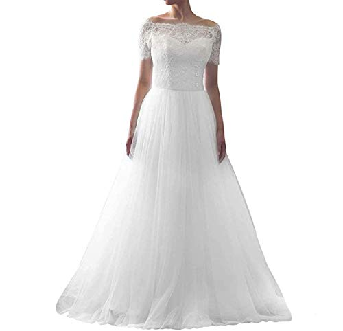 H.S.D Women's Sexy V Neck Lace Appliques Wedding Dress Bridal Gown With Trailing