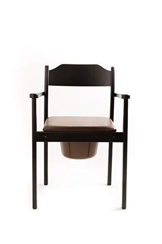 Silla de baño higiénica de alta calidad con asiento acolchado y cubo extraíble con tapa, certificado de ayuda para inodoro (negro)
