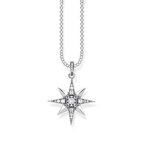 Thomas Sabo Damen-Kette mit Anhänger Royalty Stern weiß Glam & Soul 925 Sterling Silber Länge 45 cm KE1825-643-14-L45v