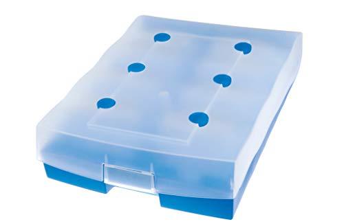 HAN Archivbox CROCO DUO – hochwertige Archivbox für bis zu 2.200 DIN A8 Karten. Inklusive A-Z Register und 8 Stützplatten, transluzent-blau, 9987-643
