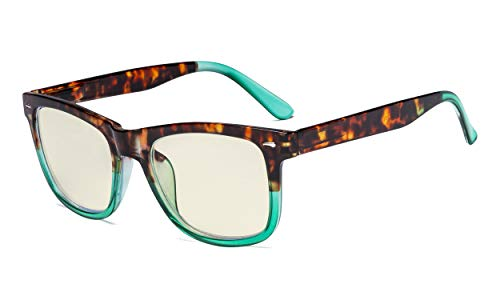 Eyekepper Gafas con Filtro de Luz Azul - Protección UV420 Gafas Cuadradas con Lentes Grandes para Computadora - Verde+3.50
