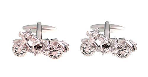 magdalena r. Manschettenknöpfe Sport Motorrad silbern glänzend inkl. Silberbox