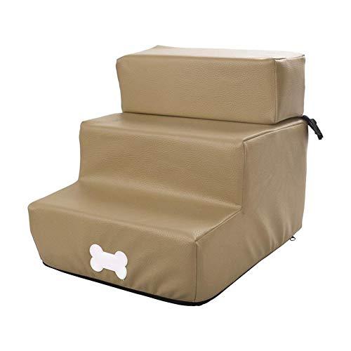 Escalera para mascotas para perros pequeños, plegable, 3 peldaños, de piel, desmontable, escalera de tres pisos, lavable, para mascotas articuladas, 30 x 36 x 30 cm