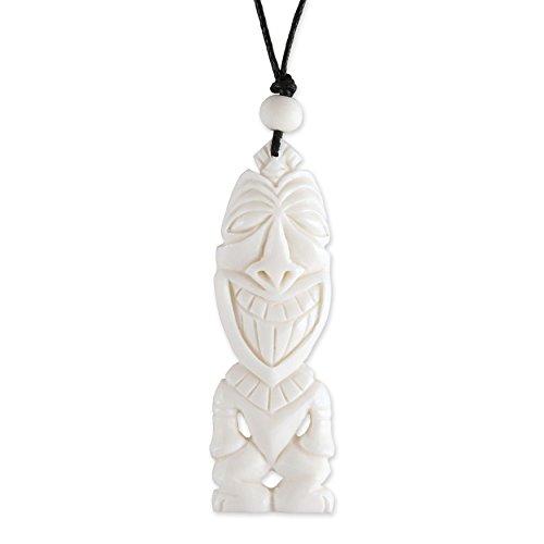 ISLAND PIERCINGS Maori Anhänger Halskette Tiki Echte Handarbeit Knochen inkl. Band PB390
