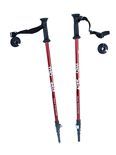 "WSD Ski Poles Telescopic Adjustable Collapsible Kids Junior Downhill/Alpine ski Poles Pair with Baskets 32"" to 42"" New (Red)"