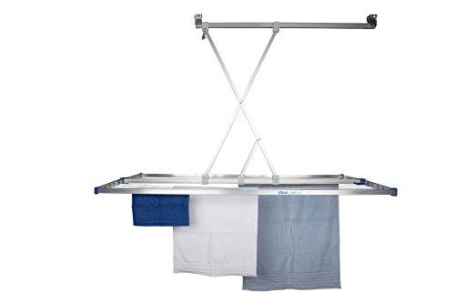 stewi Libelle XL Deckentrockner Wäschetrockner für die Decke, Aluminium, Silber/Blau, 165 x 75 cm