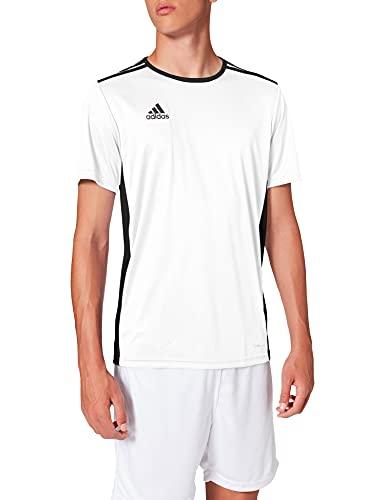 adidas Entrada 97 Camiseta de Fútbol para Hombre de Cuello Redondo en Contraste, Blanco (White/Black), L