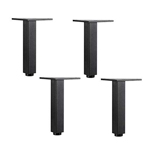 4 Stück Möbelbeine aus Aluminiumlegierung,Platz Metall Möbelfüße, Stützbeine,Schrank Füße,Sofa Beine,Inklusive Anschraubplatte,für Couch,Bett,Waschtisch,DIY-Möbel,Höhenverstellbar 10 mm(black25cm)