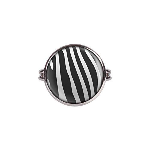 Mylery Ring mit Motiv Zebra Zebra-Muster gestreift schwarz weiß Silber 16mm