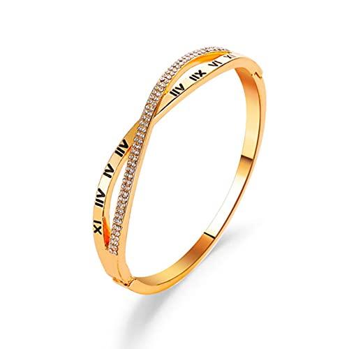 Pulsera clásica de Moda para Mujer, brazaletes de Oro de Color Plateado para Mujer, Pulsera de Diamantes de imitación de Oro Rosa, Regalos de joyería de Moda