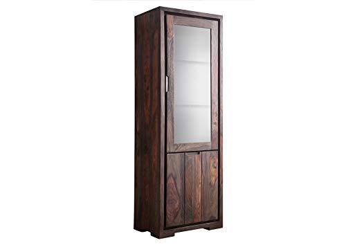 MASSIVMOEBEL24.DE Palisander Holz Möbel massiv geölt Vitrine Sheesham Massivmöbel Holz massiv grau Pure Sheesham Strong Grey #876