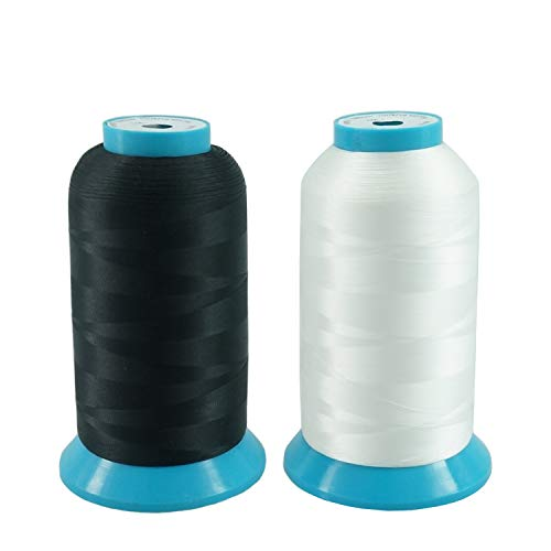 New brothread Conjunto de 2 (Negro+Blanco) 5000M (5500Y) Poliéster Bordado Máquina Hilo Bobinas de hilo para máquina de bordado y coser