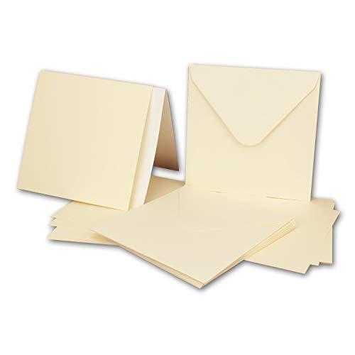 50x Quadratisches Karten-Set mit Briefumschlägen & Einleger - 13,5 x 13,5 cm - Creme/Elfenbein - quadratische blanko Einladungen für Hochzeit und Feste