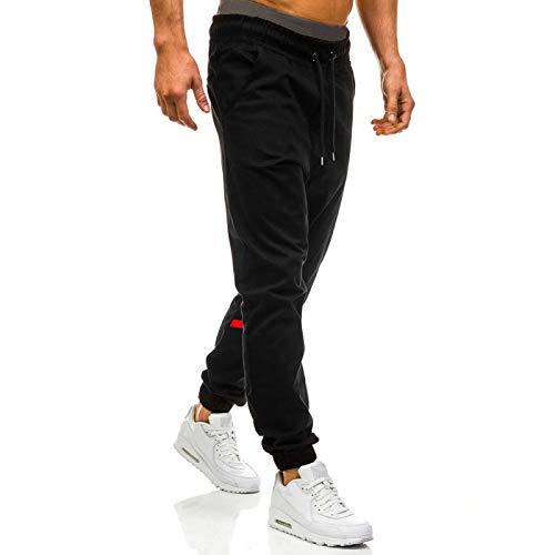 Katenyl Pantalones de chándal para Hombre, Estampado de Costura, Cintura elástica, Tendencia, Ropa de Calle, Pantalones Casuales para Senderismo al Aire Libre L