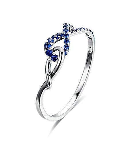 Rubyia Ring Women 18ct White Gold 0.15ct Blue Sapphire Round with Knot Size T½