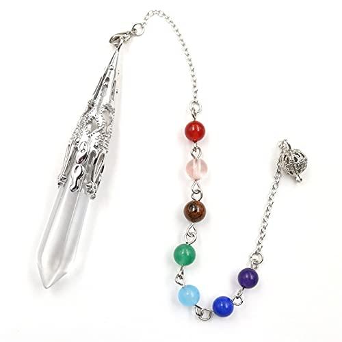 ZZLLFF Joyería de Piedra de Gema Natural Reiki Pyramid Hexagonal Cadena Cristales Colgante Pendiente Amuleto (Metal Color : Clear Crystal Chakra)