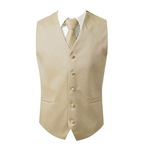 Brand Q 3pc Men's Dress Vest Necktie Pocket Square Set for Suit or Tuxedo (2XL (Chest 48), Beige)