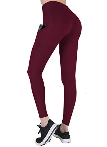 High Waisted Yoga Pants with Pockets - Tummy Control, Squat-Proof Workout Pants for Women, 4 Way Stretch Yoga Leggings Wine Red