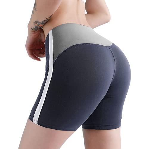 Pantalones Cortos Deportivos Ajustados de Color a Juego para Mujer, Pantalones Cortos Deportivos de Cintura Alta para Levantar glúteos, Correr, Yoga, Fitness, Gimnasio S
