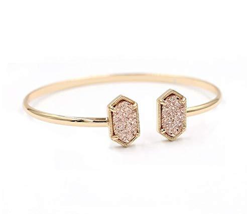SDFASV Kupfer kleine ovale Quarz Harz Druzy Armreifen Marmor Stein Manschette Armreifen für Frauen Gold Rosa