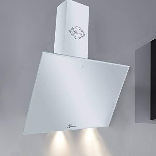 GURARI Dunstabzugshaube Kopffreihaube GCH 286 WH 6 Prime, Weiß Glas, EEK A, 1000m³/h, Fernbedienung, Wandhaube